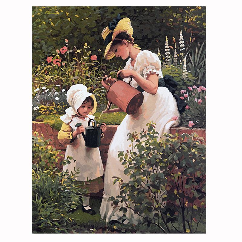 diy数字油画风景人物花卉田园手绘填色定制大幅客厅 装饰画包邮图片