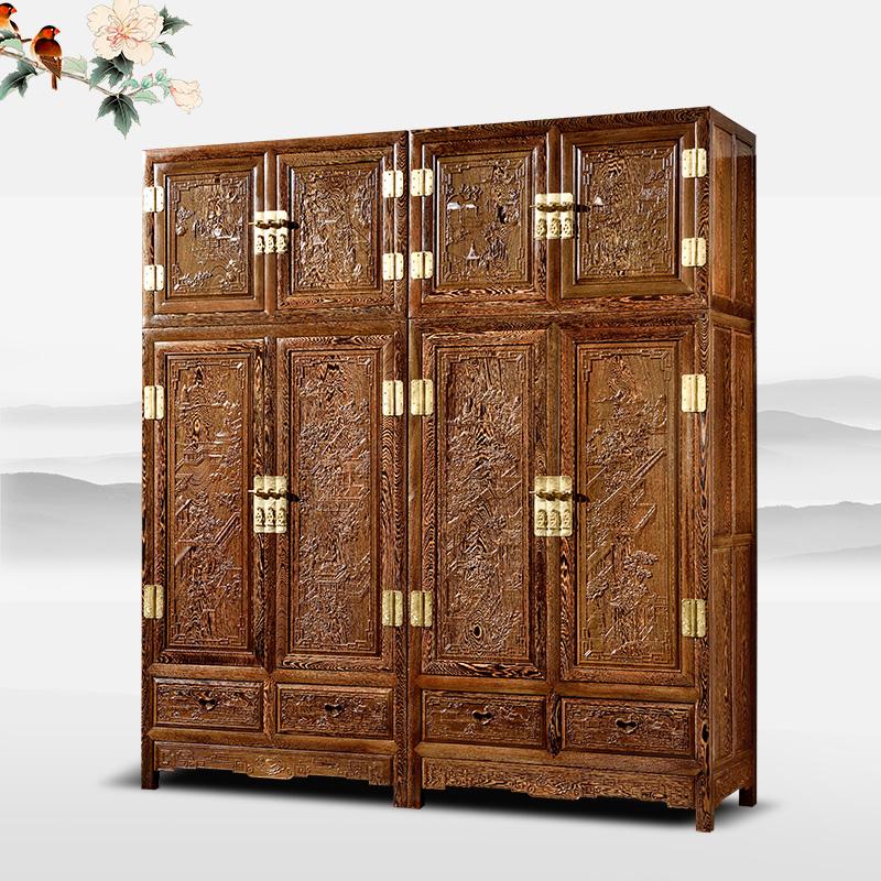 红木家具鸡翅木顶箱柜红木花鸟四门衣柜实木中式仿古雕花储物衣橱