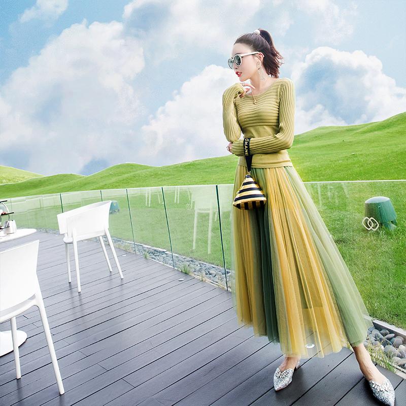 热销40件限时2件3折牛油果绿套装女2019新款秋装洋气名媛针织衫半身裙时尚两件套裙子