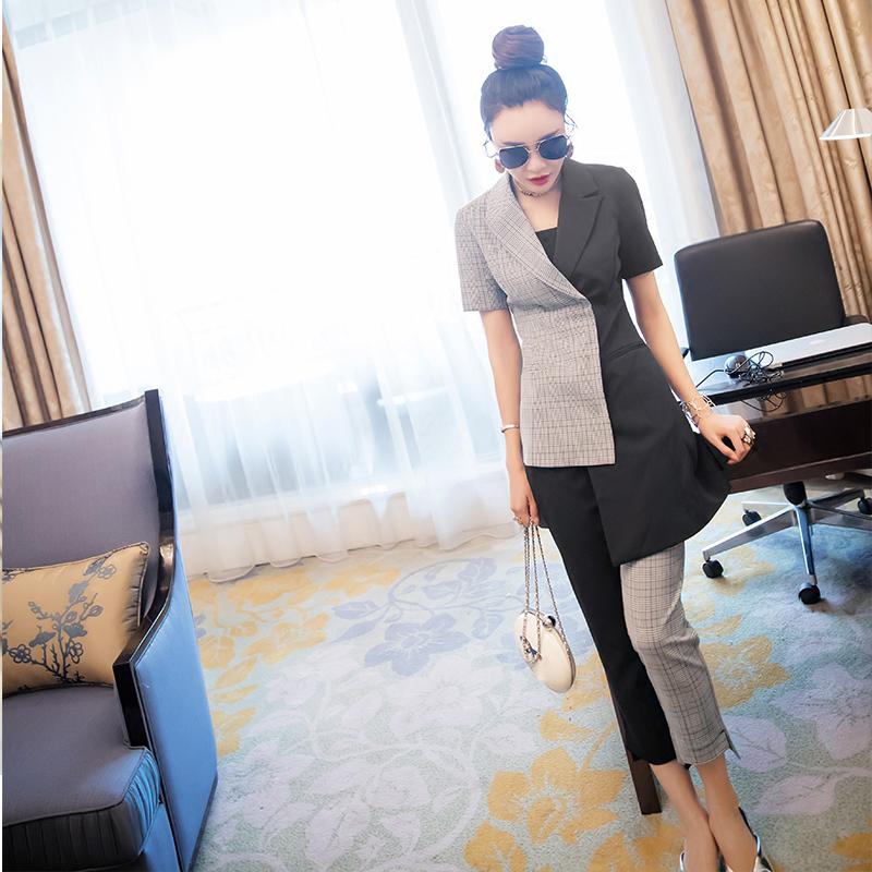 气质名媛格子西装套装女装夏装2018新款裤子修身上衣时尚两件套潮