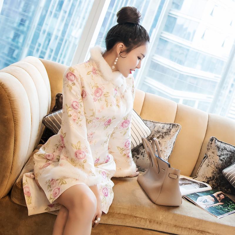 Cheongsam женщина 2017 новинка зимний осеннний темперамент дамы китайский ветер длинный рукав девушка cheongsam юбка платье краткое модель