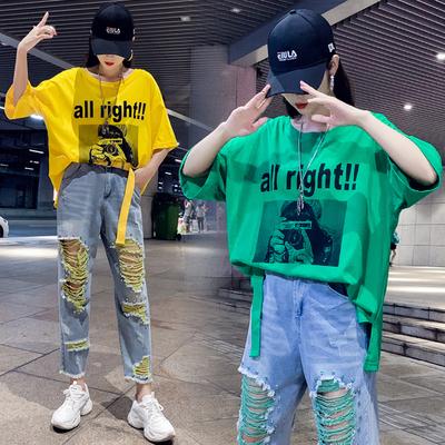 套装女夏2019新款时尚韩版洋气宽松哈伦老爹牛仔裤休闲运动两件套
