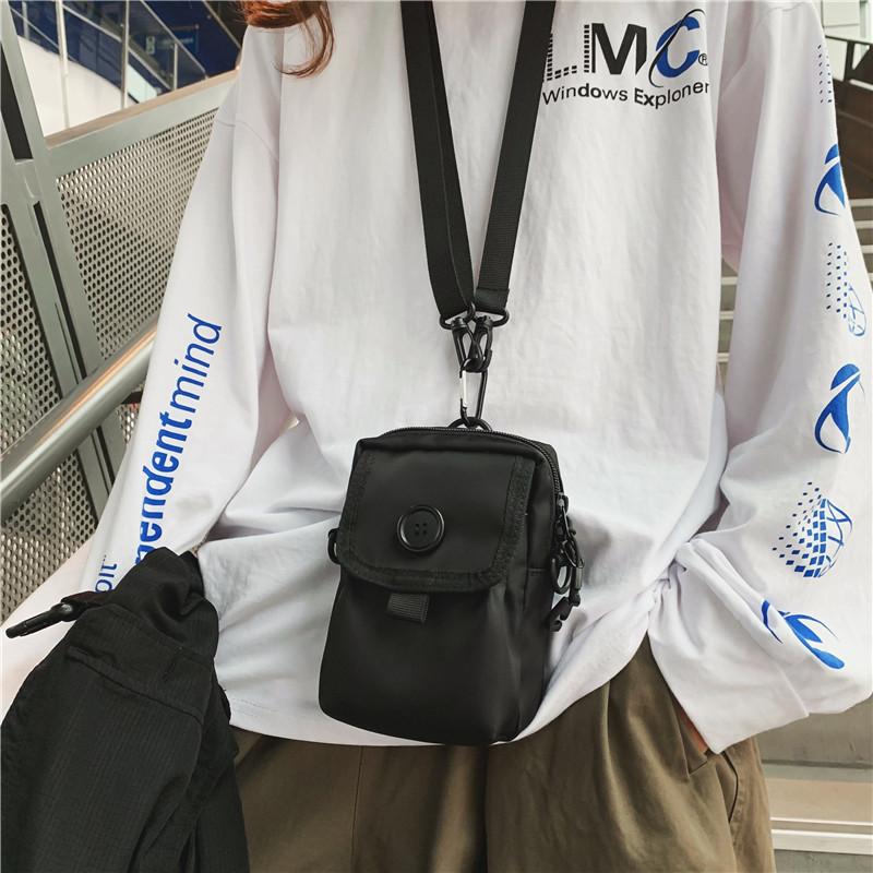 手机包黑色小包包挂脖子零钱包轻便随身运动臂式多功能腰包斜挎包