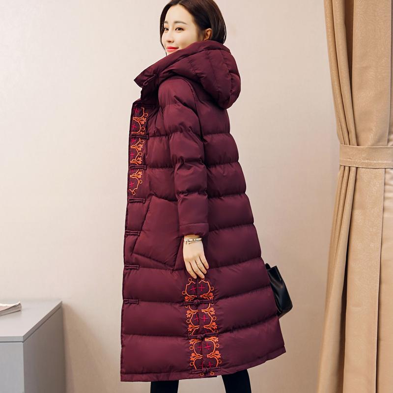 中国风妈妈冬装羽绒棉服中老年人老人唐装棉衣绣花盘扣棉袄外套女