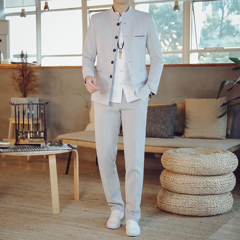 秋季v2中山装西服套装男士西装两件套纯色中国风外套TZ107-P150