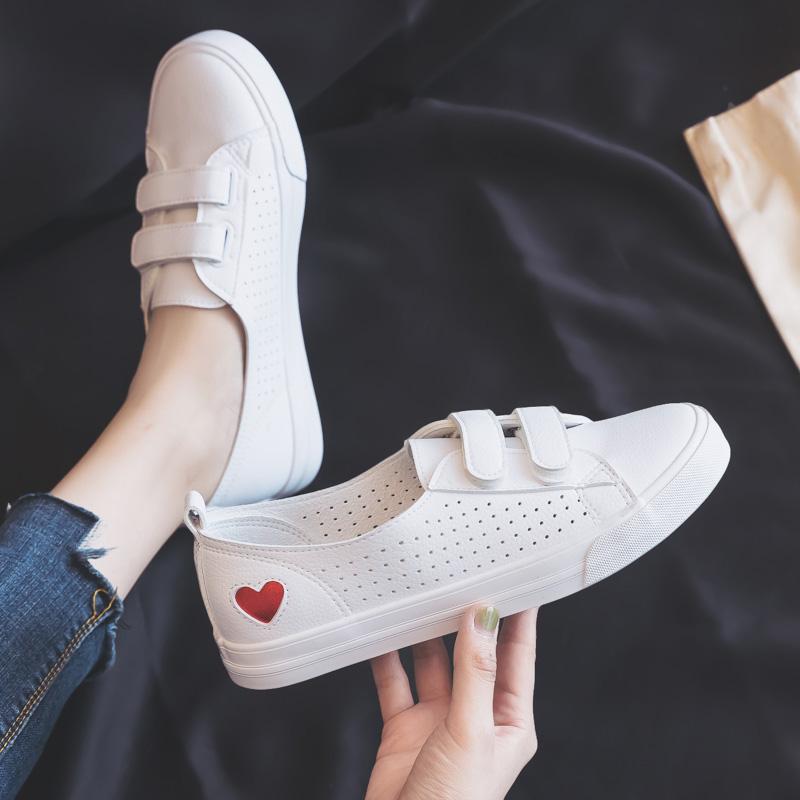 夏季薄款透气小白鞋女鞋2020年新款百搭软皮豆豆魔术贴浅口单鞋子图片