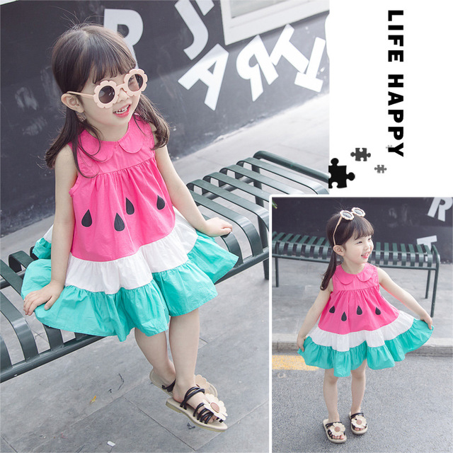 New girls baby collar watermelon dress in summer of 2019