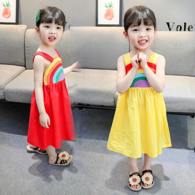 2019女童吊带彩虹连衣裙夏季韩版宝宝洋气童装潮
