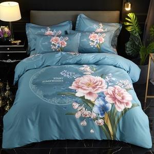 床上用品四件套全棉純棉100被套床單床笠三4件套中國風床品套件