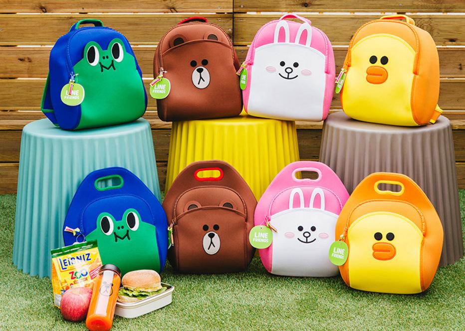 韩国line friends布朗熊书包韩版手提包潜水材料幼儿园双肩背书包