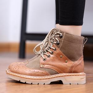 特價牛皮馬丁靴真皮女靴潮流短靴工裝靴布洛克雕花女鞋軍靴棉鞋子