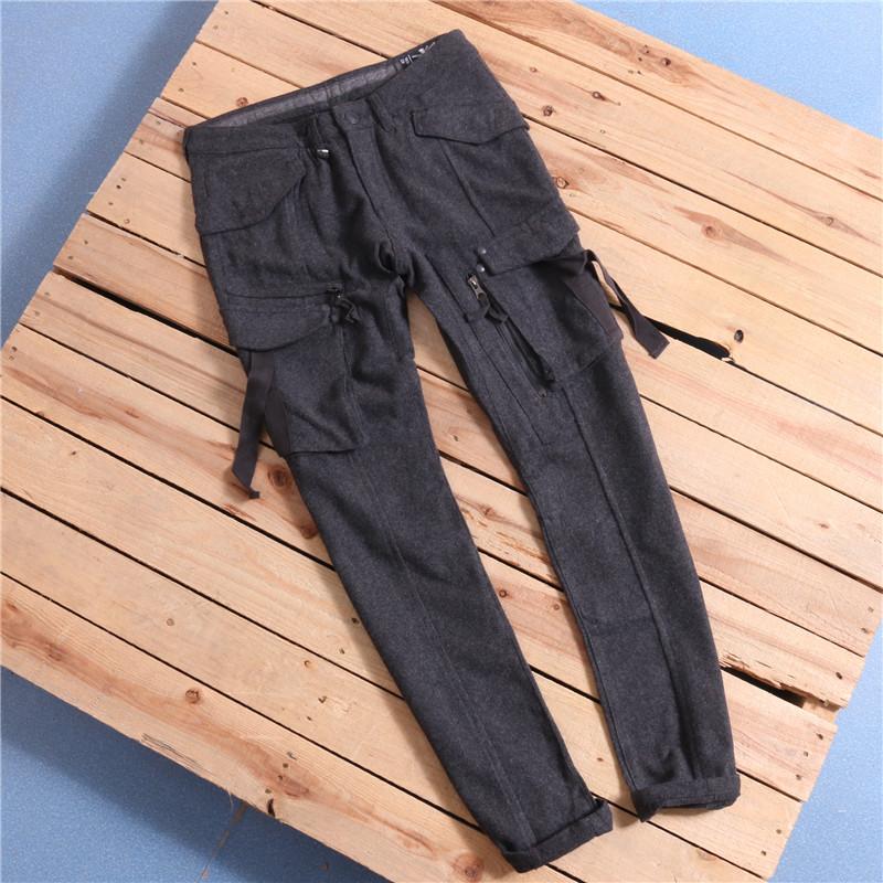 重磅好质量带打底工装立体多袋毛呢修身直筒休闲裤长裤C9-K303