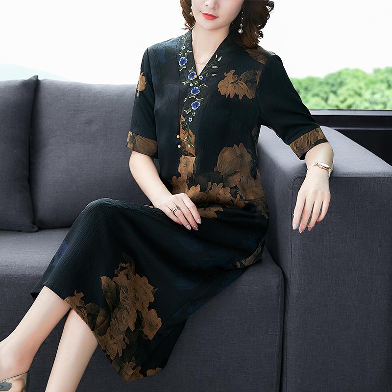 新款香云纱中长款时尚气质连衣裙满134.00元可用67元优惠券