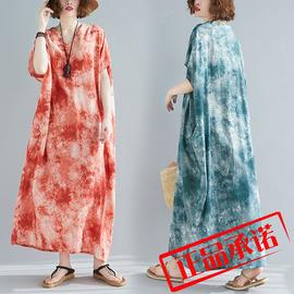 实拍复古女气质大袍子欧美风宽松大码超洋气波西米亚裙子包邮