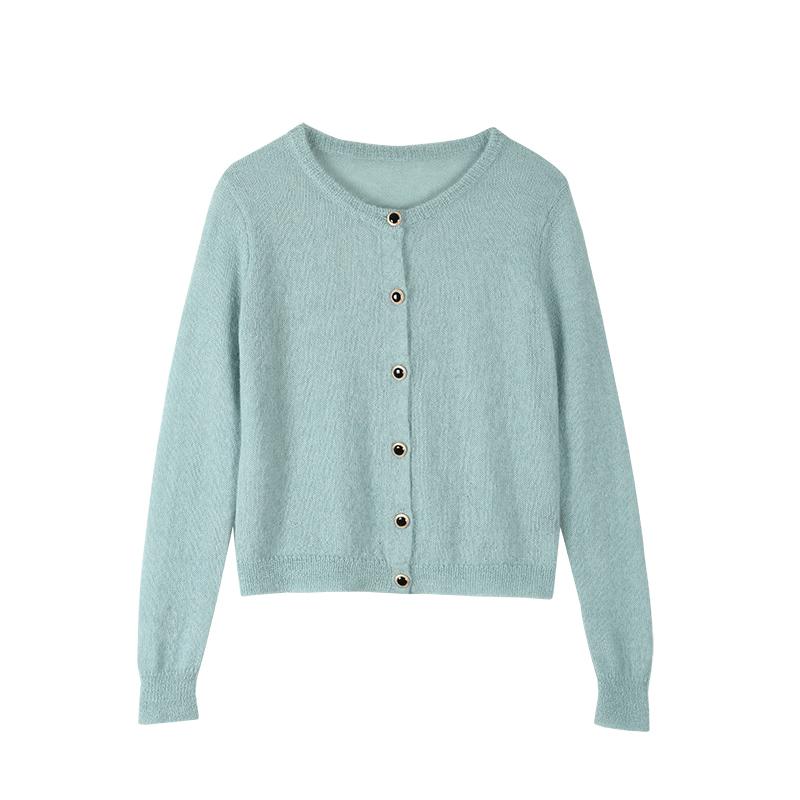 yuqistudio针织开衫女时尚气质薄款百搭纯色圆领显瘦长袖外搭上衣