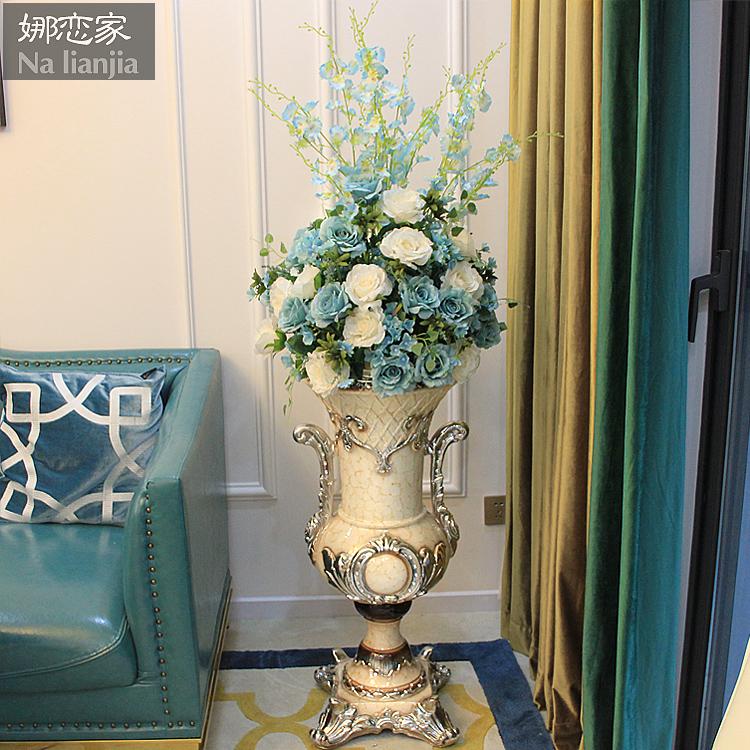 客厅落地摆件大花瓶插花仿真花套装欧式现代简约家居装饰品摆设