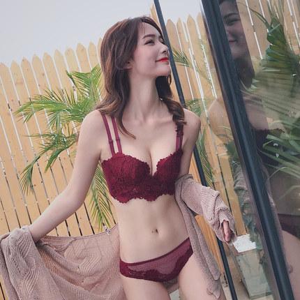 新客蕾丝红色内衣女无钢圈胸罩小胸聚拢厚款调整型上托防下垂文胸