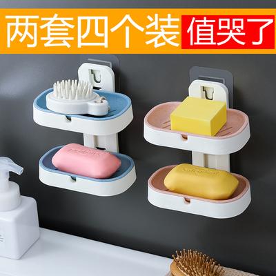 免打孔双层沥水皂盒创意吸盘壁挂式卫生间香皂盒浴室肥皂架置物架