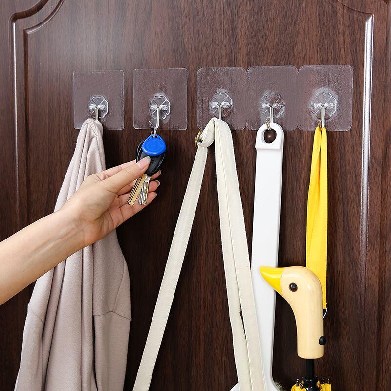 乐彼免钉粘胶挂钩浴室壁挂门后挂衣钩厨房墙壁粘贴排钩无痕粘钩