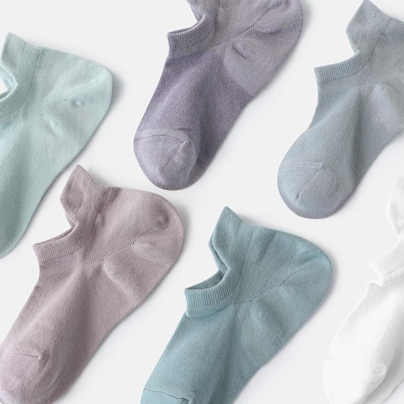 窝窝袜馆夏季金棉呼吸护踝情侣袜薄款短袜纯色系百搭隐形船袜女男