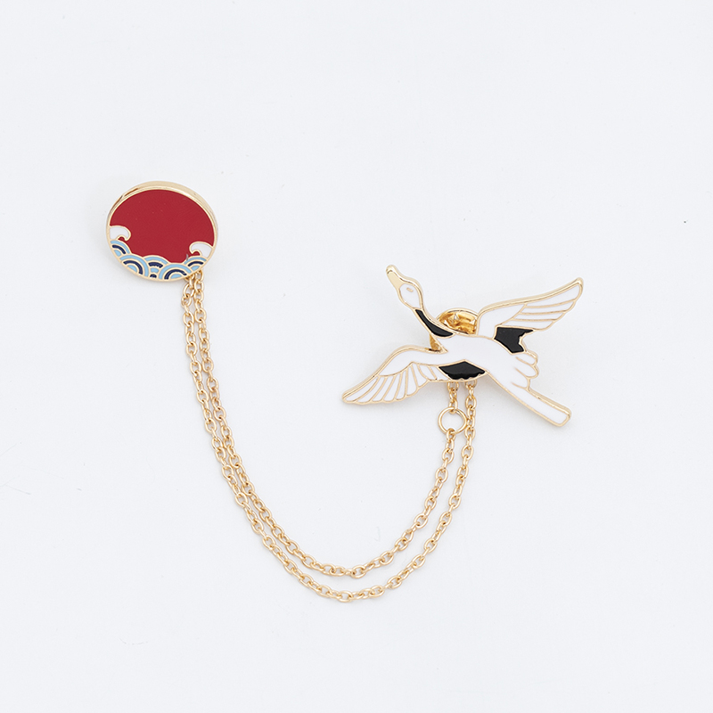 Chinese style chain brooch, fashionable personality anti light buckle, mens and womens fixed clothes, lovely accessories