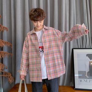2019夏季新款港风格子韩版潮流宽松长袖衬衫男生休闲衬衣薄款外套