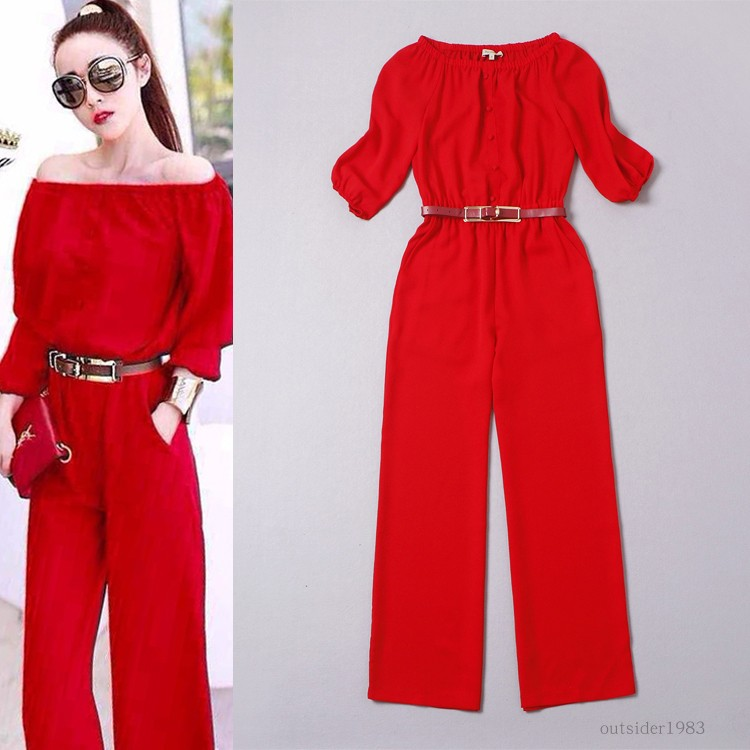 Off shoulder Jumpsuit womens 2020 new wave point high waist loose pants suit wide leg pants