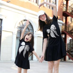 2020親子裝夏裝一家三口母女裝大碼網紅洋氣家庭裝母子四口連衣裙