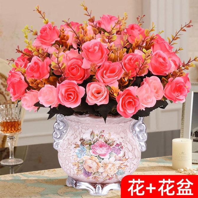 饰假花客厅摆件餐桌花电视柜干花摆设室内盆栽仿真花艺塑料插花 装