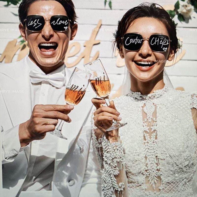 新款婚纱摄影道具英文字母眼镜影楼用品旅拍街拍太阳镜时尚方墨镜