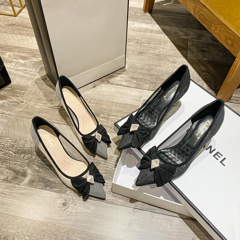 高跟鞋女细跟夏2021年新款少女黑色晚晚风单鞋工作鞋女久站不累脚