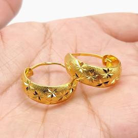 久不掉色越南沙金饰品镀24K满天星耳环欧币金女士婚庆首饰送妈妈