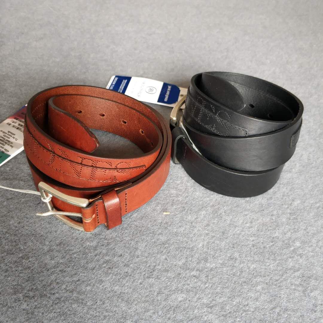 包邮 杰克琼斯新款男士意大利产皮面装饰真皮牛皮革针扣皮带腰带
