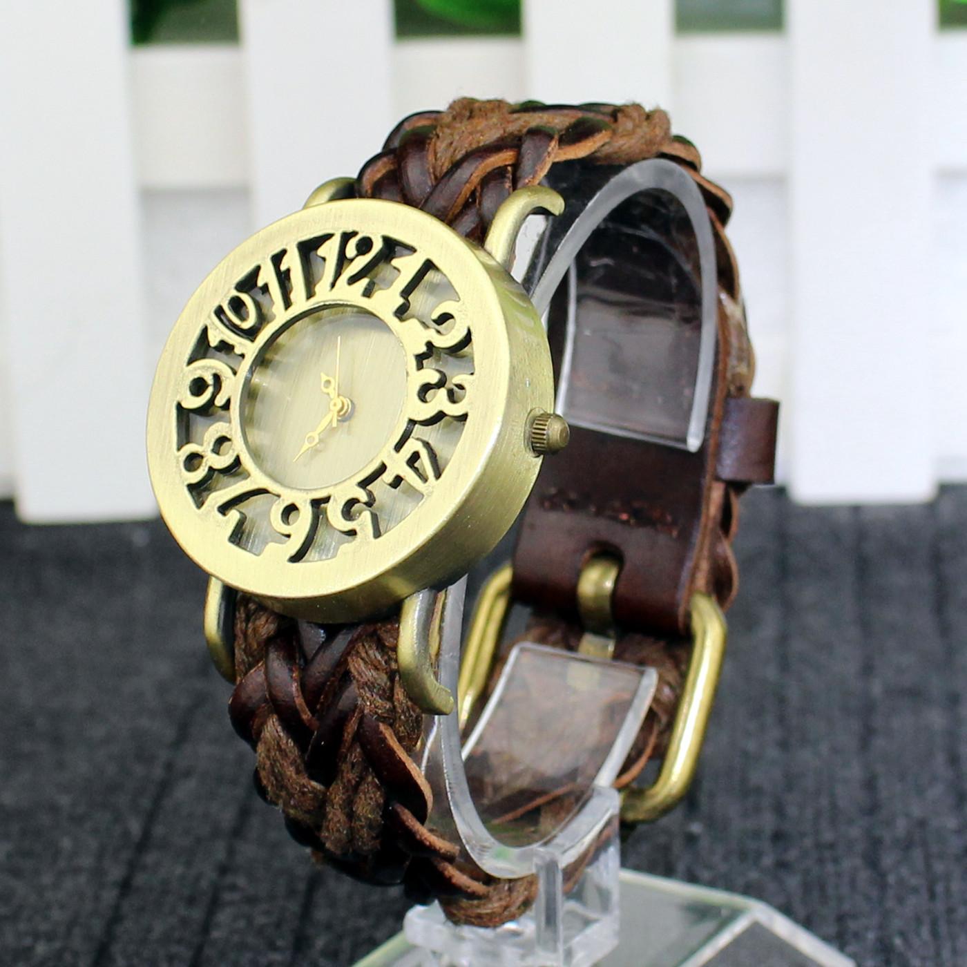 2020潮品复古手表 韩国牛皮手链镂空怀旧古董UP表带手表