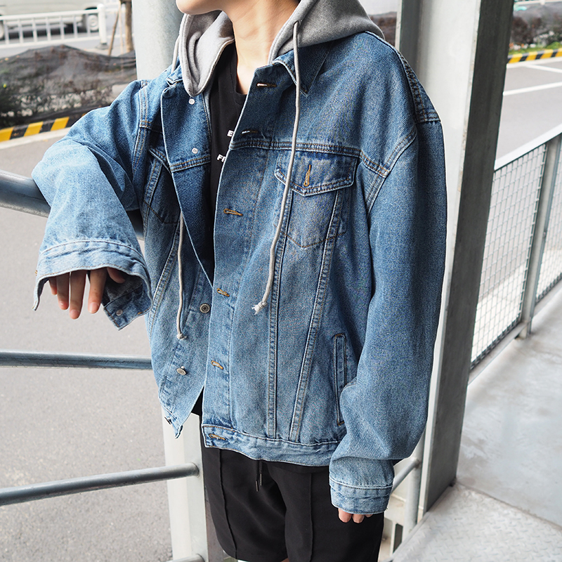 Spring and autumn Korean mens oversize hooded denim jacket youth loose hooded denim jacket trend