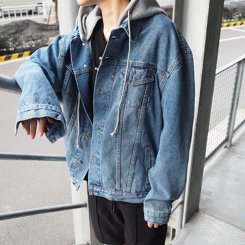 春秋韩版男士OVERSIZE连帽牛仔外套青少年宽松带帽牛仔衣褂夹克潮