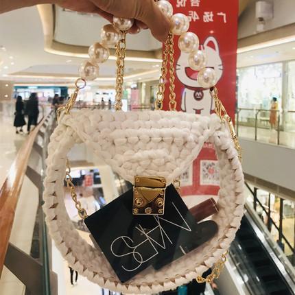 泫雅风手工材料包小香风亚克力羽毛编织包透明珍珠斜跨包包diy白