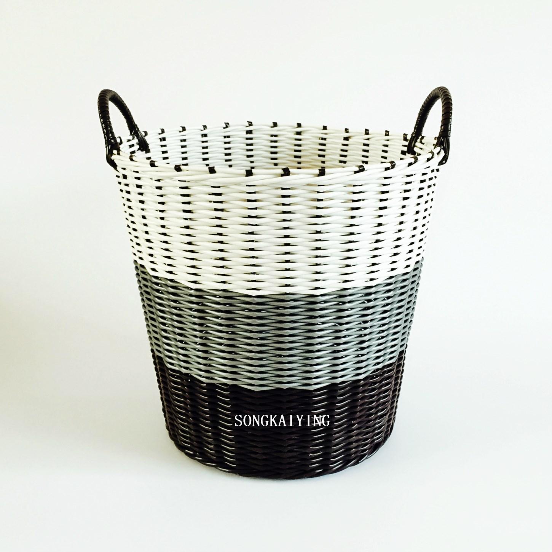 塑料特价浴室有盖衣服收纳筐脏衣篮篓落地式编织特大蓝大号储物篮
