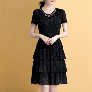夏季连衣裙短袖女夏装2020新款40岁女装雪纺性感裙子遮肚大码显瘦