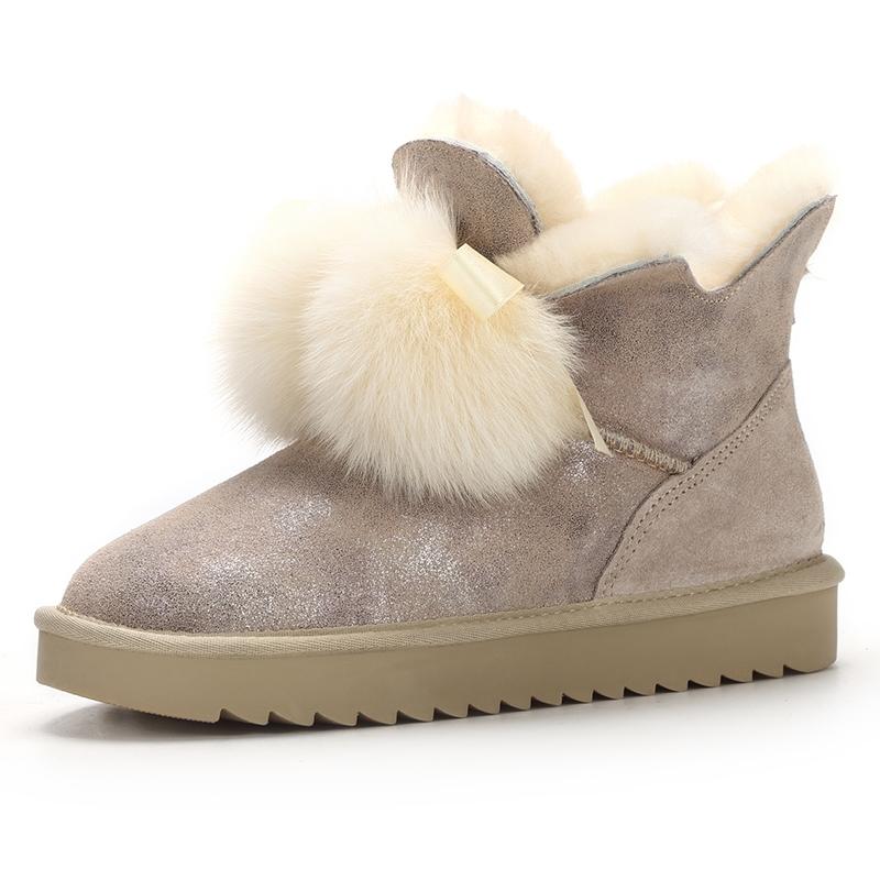 皮毛一体雪地靴女五叶草狐狸毛球冬季新款时尚短筒真皮厚底加绒女