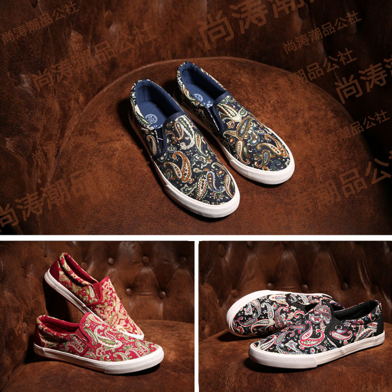 2020 New Style Mens shoes printed national style canvas shoes with Chinese style board shoes and classic pattern leisure cloth shoes