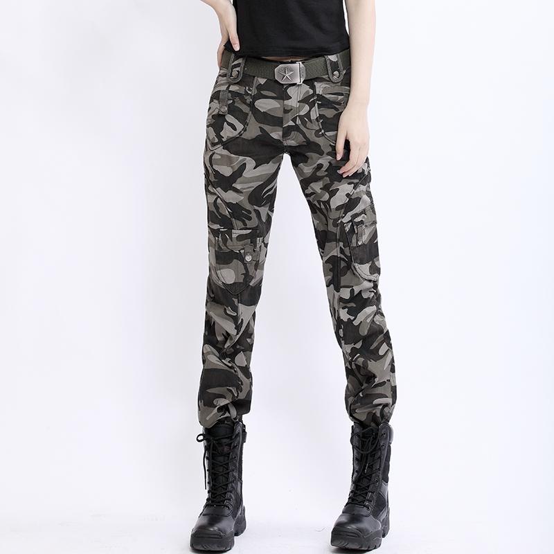 户外迷彩裤女直筒军迷工装裤修身显瘦军绿色长裤子高腰军装裤宽松