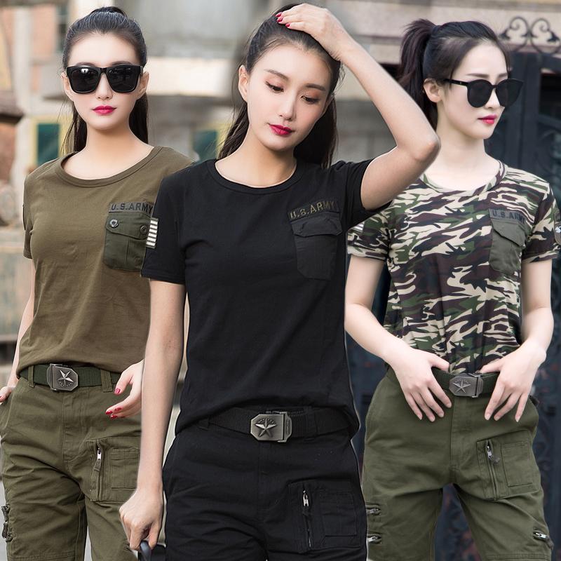 夏季迷彩短袖t恤女军绿色工装水兵舞服军迷军装户外宽松情侣潮