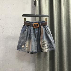 欧货松紧高腰怀旧色字母刺绣牛仔短裤夏装新宽松时尚阔腿A字裤裙