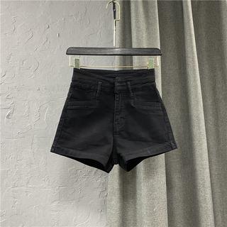 韩版黑色高腰牛仔短裤女装2021春夏季新款宽松显瘦阔腿A字靴裤潮