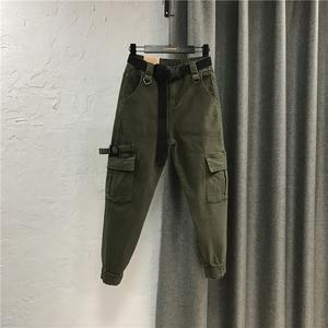 束脚工装裤女装2020秋季新款休闲口袋款牛仔长裤军绿色哈伦裤韩版
