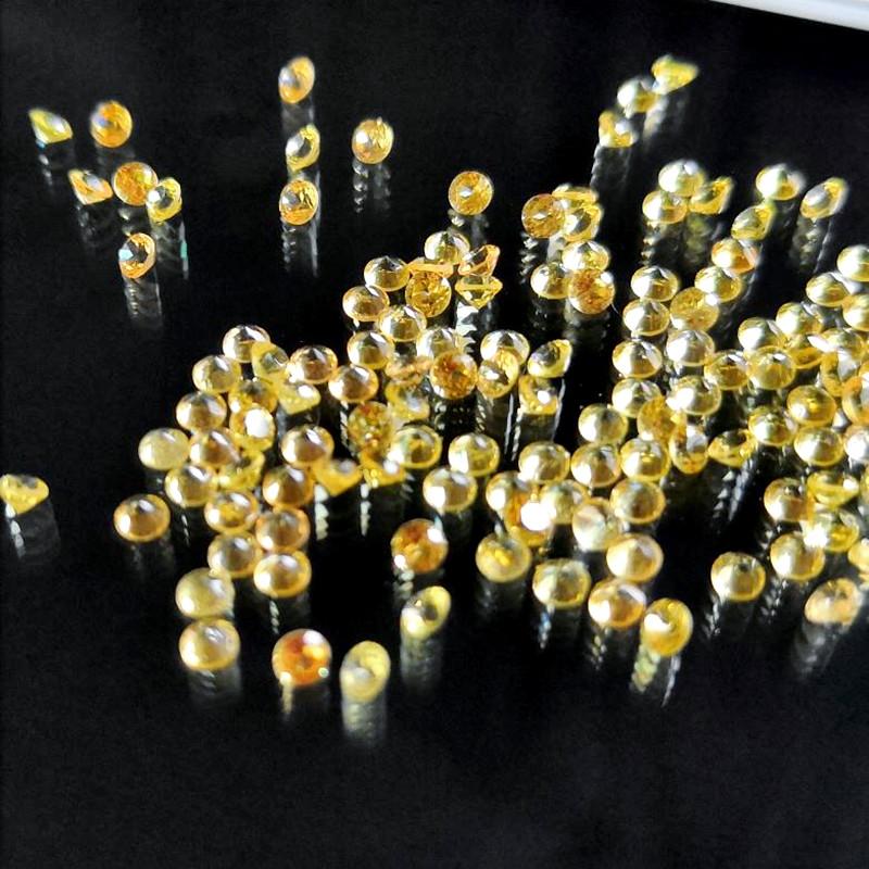 黄色蓝宝石小圆形1.5毫米尖底刻面天然镶嵌珠宝首饰戒指吊坠精品
