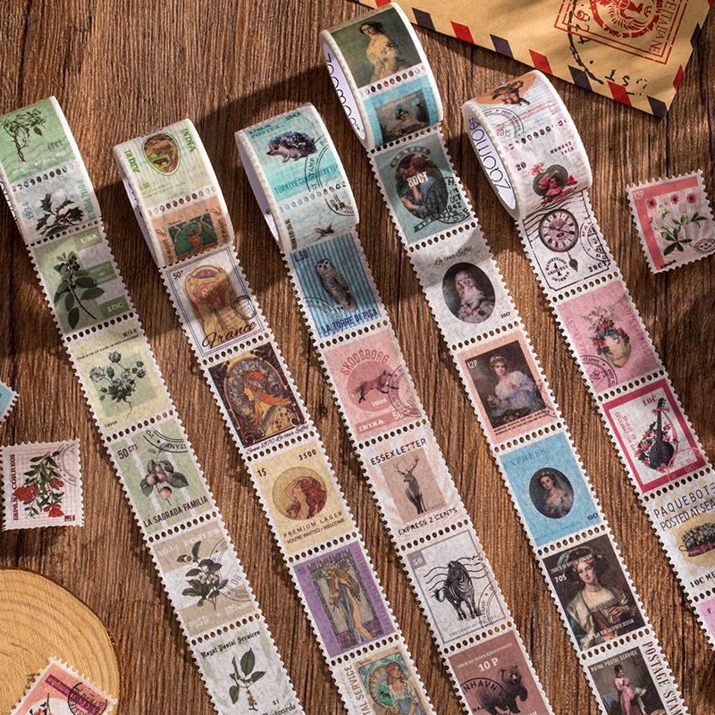 早沫 复古邮票切模切手帐和纸胶带整卷 异性可撕diy手账装饰贴纸