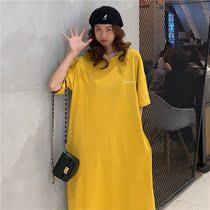 韩国裙子秋季夏装短袖纯棉学生长款灰色时尚过膝连衣裙气质女ins
