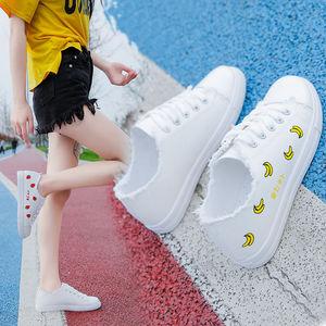帆布鞋女鞋子学生韩版百搭原宿女士秋季小白鞋平底板鞋透气布鞋单